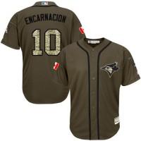 Blue Jays #10 Edwin Encarnacion Green Salute to Service Stitched Baseball Jersey