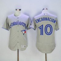 Blue Jays #10 Edwin Encarnacion Grey Flexbase Authentic Collection Stitched Baseball Jersey