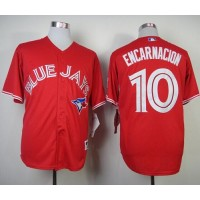 Blue Jays #10 Edwin Encarnacion Red Canada Day Stitched Baseball Jersey