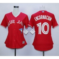 Blue Jays #10 Edwin Encarnacion Red Canada Day Women's Stitched Baseball Jersey