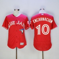 Blue Jays #10 Edwin Encarnacion Red Flexbase Authentic Collection Canada Day Stitched Baseball Jersey