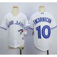 Blue Jays #10 Edwin Encarnacion White Cool Base Stitched Youth Baseball Jersey