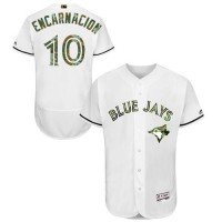 Blue Jays #10 Edwin Encarnacion White Flexbase Authentic Collection 2016 Memorial Day Stitched Baseball Jersey