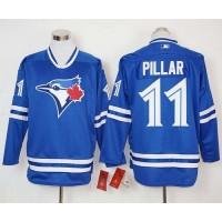 Blue Jays #11 Kevin Pillar Blue Long Sleeve Stitched Baseball Jersey