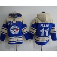 Blue Jays #11 Kevin Pillar Blue Sawyer Hooded Sweatshirt Baseball Hoodie