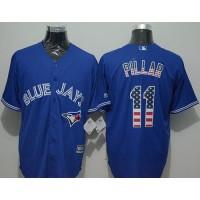 Blue Jays #11 Kevin Pillar Blue USA Flag Fashion Stitched Baseball Jersey