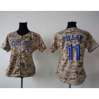 Blue Jays #11 Kevin Pillar Camo Women's Fashion Stitched Baseball Jersey