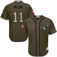Blue Jays #11 Kevin Pillar Green Salute to Service Stitched Baseball Jersey
