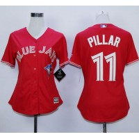 Blue Jays #11 Kevin Pillar Red Canada Day Women's Stitched Baseball Jersey