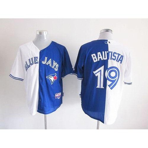 d2bbe5a359f Blue Jays  19 Jose Bautista WhiteBlue Split Fashion Stitched Baseball Jersey