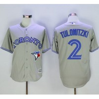 Blue Jays #2 Troy Tulowitzki Grey New Cool Base 40th Anniversary Stitched Baseball Jersey