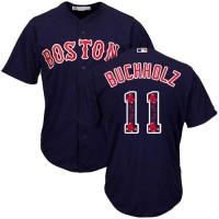Boston Red Sox #11 Clay Buchholz Navy Blue Team Logo Fashion Stitched MLB Jersey
