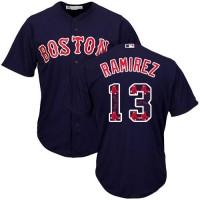 Boston Red Sox #13 Hanley Ramirez Navy Blue Team Logo Fashion Stitched MLB Jersey