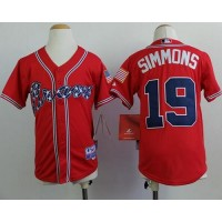 Braves #19 Andrelton Simmons Red Cool Base Stitched Youth Baseball Jersey