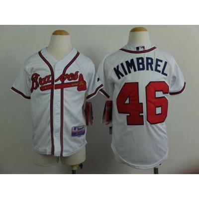 Braves #46 Craig Kimbrel White Cool Base Stitched Youth Baseball Jersey