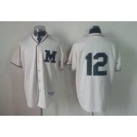 Brewers #12 Martin Maldonado Cream 1913 Turn Back The Clock Stitched Baseball Jersey