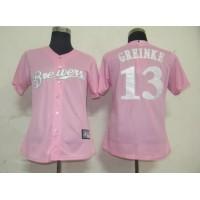 Brewers #13 Zack Greinke Pink Women's Fashion Stitched Baseball Jersey