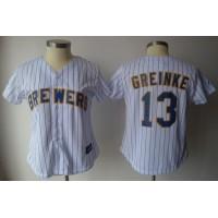 Brewers #13 Zack Greinke White With Blue Strip Women's Fashion Stitched Baseball Jersey