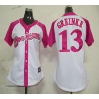 Brewers #13 Zack Greinke WhitePink Women's Splash Fashion Stitched Baseball Jersey