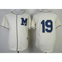 Brewers #19 Robin Yount Cream 1913 Turn Back The Clock Stitched Baseball Jersey
