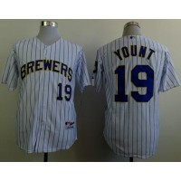 Brewers #19 Robin Yount White(Blue Strip) Stitched Baseball Jersey
