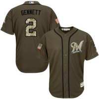 Brewers #2 Scooter Gennett Green Salute to Service Stitched Baseball Jersey