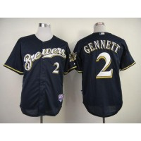 Brewers #2 Scooter Gennett Navy Blue Alternate Cool Base Stitched Baseball Jersey