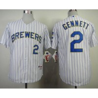 Brewers #2 Scooter Gennett White (blue strip) Stitched Baseball Jersey