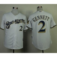 Brewers #2 Scooter Gennett White Cool Base Stitched Baseball Jersey