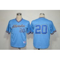 Brewers #20 Jonathan Lucroy Blue 1982 Turn Back The Clock Stitched Baseball Jersey