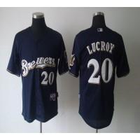 Brewers #20 Jonathan Lucroy Blue Cool Base Stitched Baseball Jersey