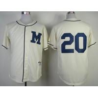 Brewers #20 Jonathan Lucroy Cream 1913 Turn Back The Clock Stitched Baseball Jersey