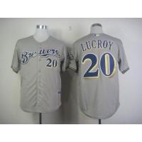Brewers #20 Jonathan Lucroy Grey Cool Base Stitched Baseball Jersey