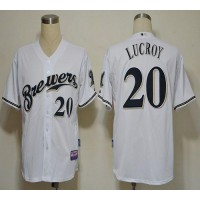 Brewers #20 Jonathan Lucroy White Cool Base Stitched Baseball Jersey