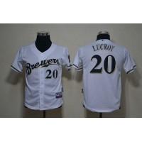 Brewers #20 Jonathan Lucroy White Cool Base Stitched Youth Baseball Jersey