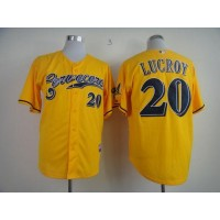 Brewers #20 Jonathan Lucroy Yellow Cerveceros Cool Base Stitched Baseball Jersey