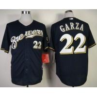Brewers #22 Matt Garza Navy Blue Cool Base Stitched Baseball Jersey