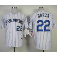 Brewers #22 Matt Garza White (blue strip) Stitched Baseball Jersey