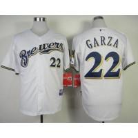 Brewers #22 Matt Garza White Cool Base Stitched Baseball Jersey