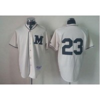 Brewers #23 Rickie Weeks Cream 1913 Turn Back The Clock Stitched Baseball Jersey