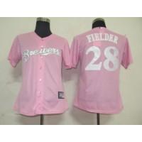 Brewers #28 Prince Fielder Pink Women's Fashion Stitched Baseball Jersey