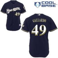 Brewers #49 Yovani Gallardo Blue Cool Base Stitched Youth Baseball Jersey