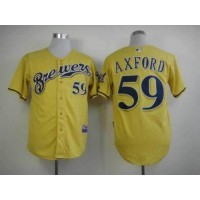 Brewers #59 John Axford Yellow Alternate Cool Base Stitched Baseball Jersey