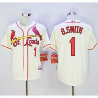 Cardinals #1 Ozzie Smith Cream Cool Base Stitched Baseball Jersey