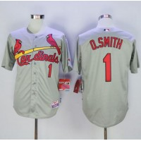 Cardinals #1 Ozzie Smith Grey Cool Base Stitched Baseball Jersey