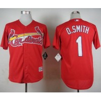 Cardinals #1 Ozzie Smith Red Cool Base Stitched Baseball Jersey