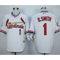 Cardinals #1 Ozzie Smith White 1982 Turn Back The Clock Stitched Baseball Jersey
