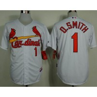 Cardinals #1 Ozzie Smith White Cool Base Stitched Baseball Jersey