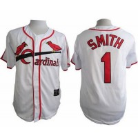 Cardinals #1 Ozzie Smith White Cooperstown Throwback Stitched Baseball Jersey