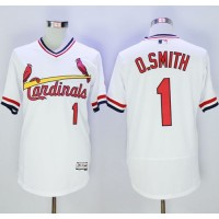 Cardinals #1 Ozzie Smith White Flexbase Authentic Collection Cooperstown Stitched Baseball Jersey